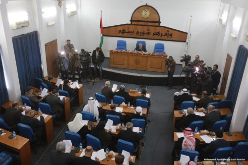 Legislative Council held a parliamentary session in Gaza to discuss the attack on the parliamentary immunity of a number of its members on 21 December 2016 [Mohammed Asad/Middle East Monitor]