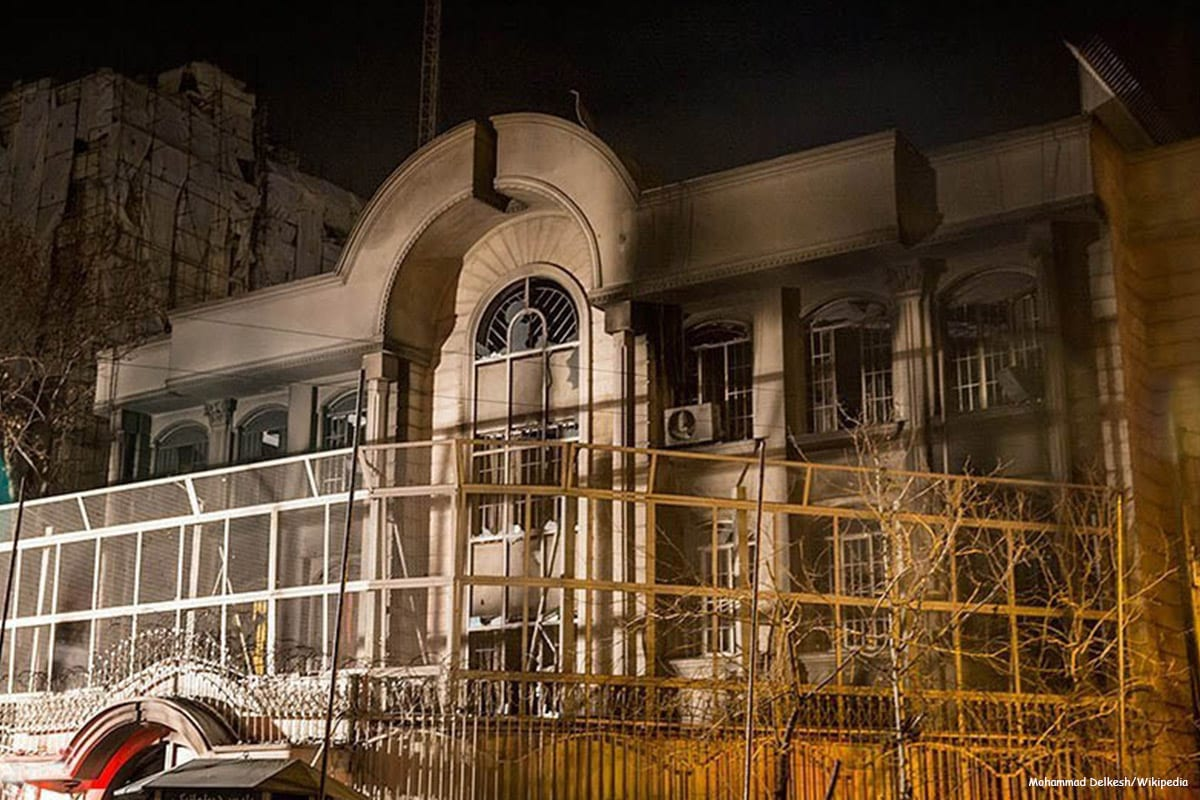 Image of the Saudi embassy in Tehran after the attack in January 2016 [Mohammad Delkesh/Wikipedia]