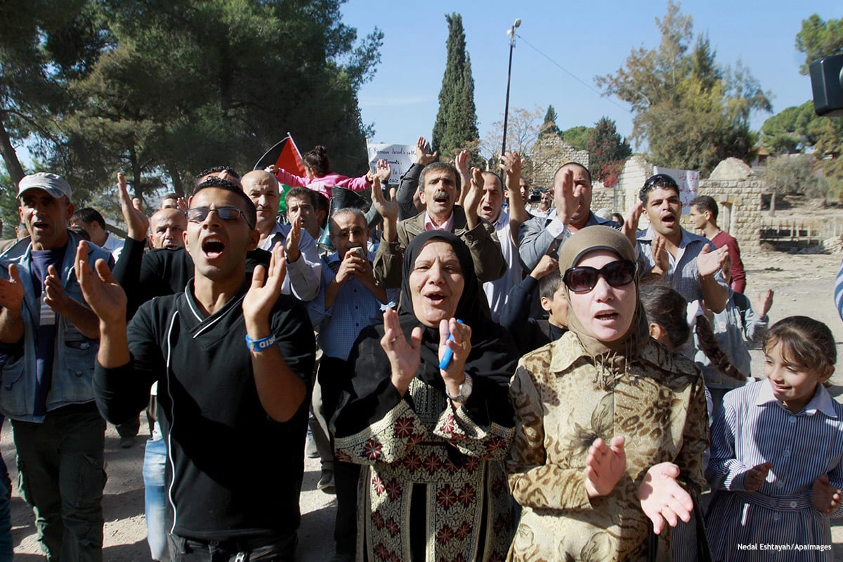 Image of Palestinians protesting against demolition of homes by Israel [Nedal Eshtayah/Apaimages]