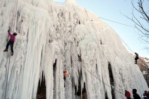 TEHRAN, IRAN- Iranian students of a Meygun ice climbing club use ice-axes and crampons to scale a frozen waterfall in the village of Meygun