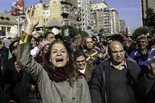 Egyptian people protest during the final session in the case of two Red Sea islands in Cairo, Egypt on January 16 2017 [Mohamed El Raai - Anadolu Agency]