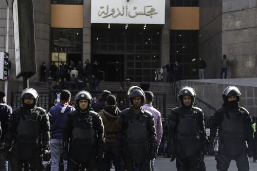 Egyptian security forces in Cairo, Egypt on January 16, 2017 ( Mohamed El Raai - Anadolu Agency )