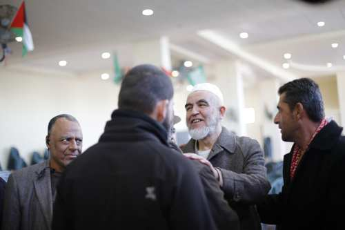 Image of Sheikh Raed Salah (2nd R) at his welcoming ceremony, after he was released from Israeli prison, in Israel on January 17 2017 [Mostafa Alkharouf/ Anadolu Agency]