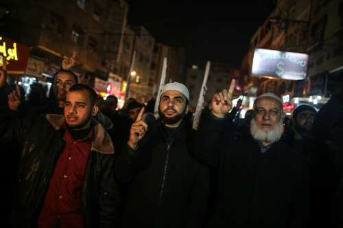 Protesters gather to protest against the demolition of Palestinians homes by Israel in Negev, in Gaza City, Gaza on January 18, 2017 [Ali Jadallah/Anadolu Agency]