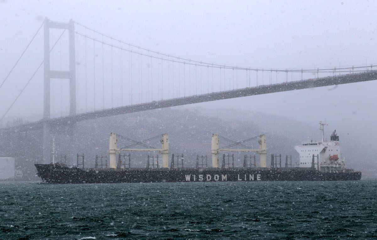 A freighter passes through the Bosphorus Strait during heavy snowfall in Istanbul, Turkey on January 26, 2017 [Metin Tokgöz / Anadolu Agency]