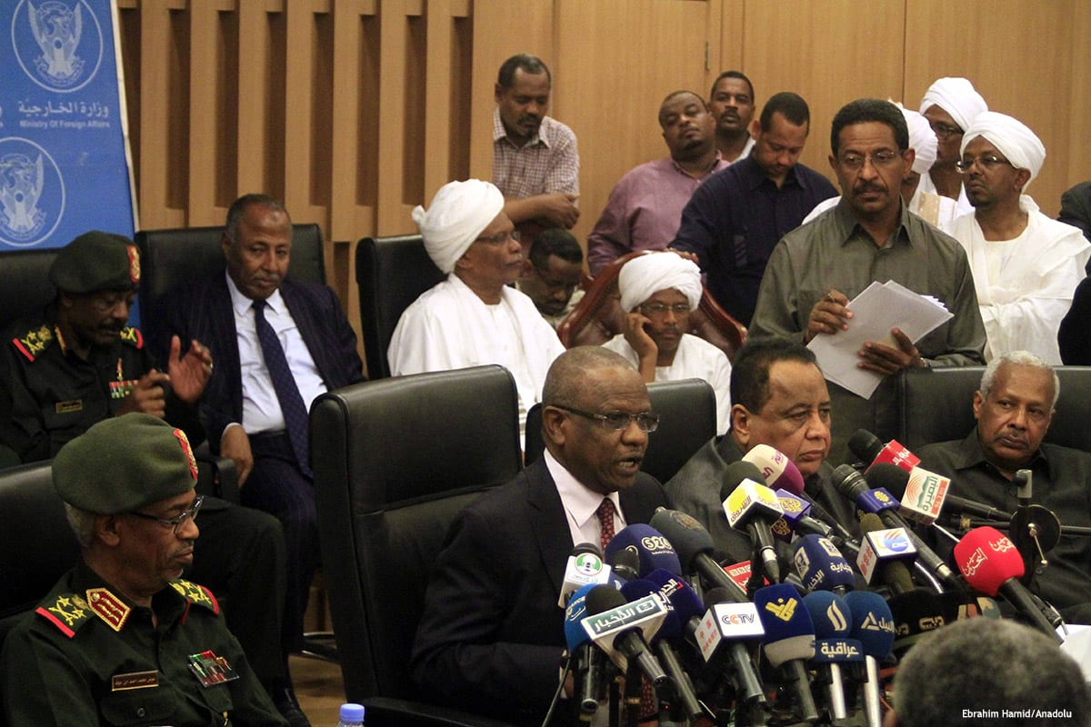 A press conference in Sudan after the US decided to lift sanctions on Sudan [Ebrahim Hamid/Anadolu]