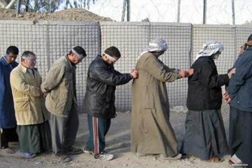 Image of prisoners blindfolded in Iraq [alkhaleejonline]