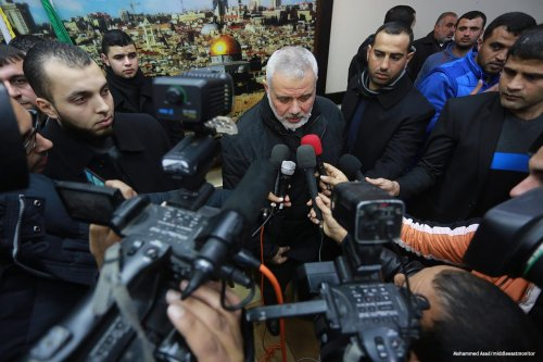 The deputy head of Hamas' political bureau, Ismail Haniyeh returns to Gaza after five months in Egypt [Mohammed Asad/middleeastmonitor]