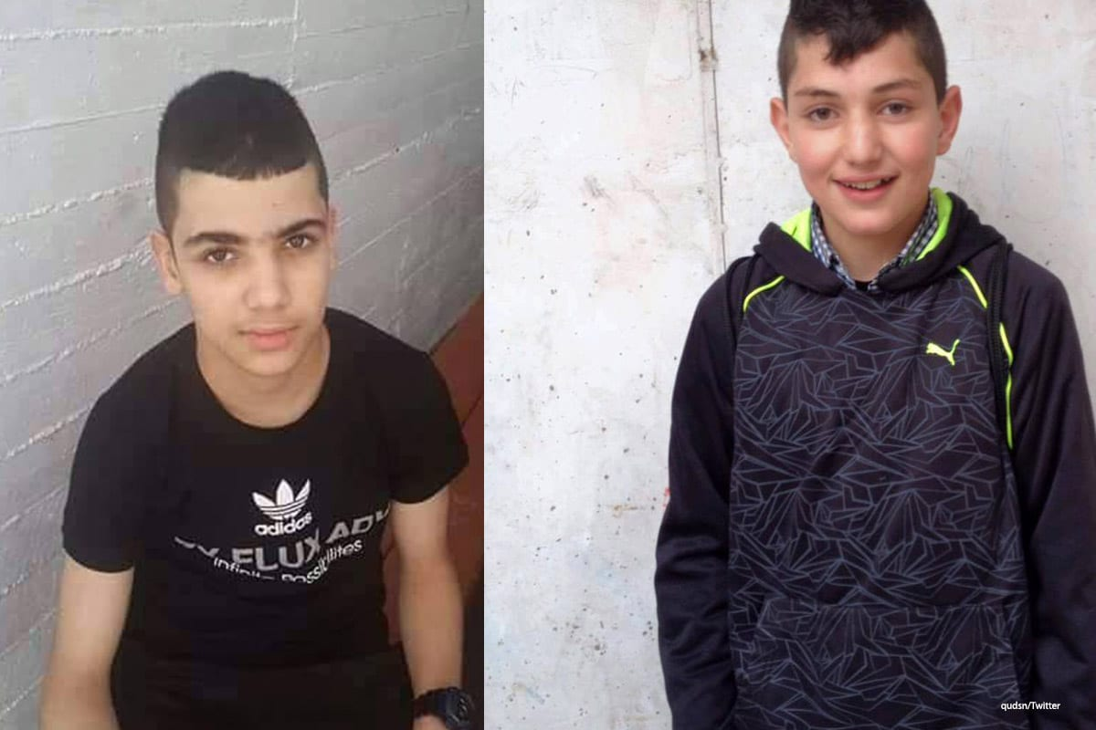 Image of the young Palestinian boys, Shadi Anwar Farah and Ahmad Raed Zatari [qudsn/Twitter]