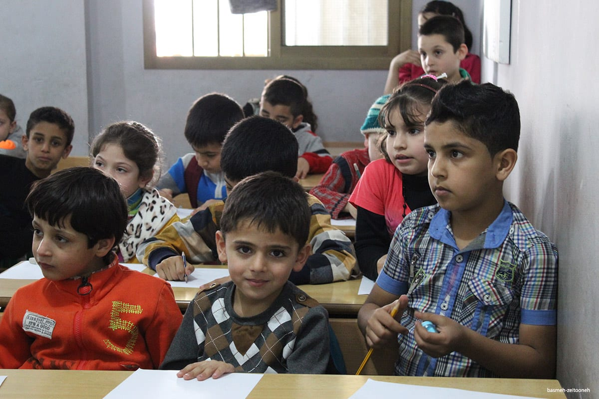 Image of children from the peace education program which helps those suffering from trauma as a result of the Syrian war [basmeh-zeitooneh]
