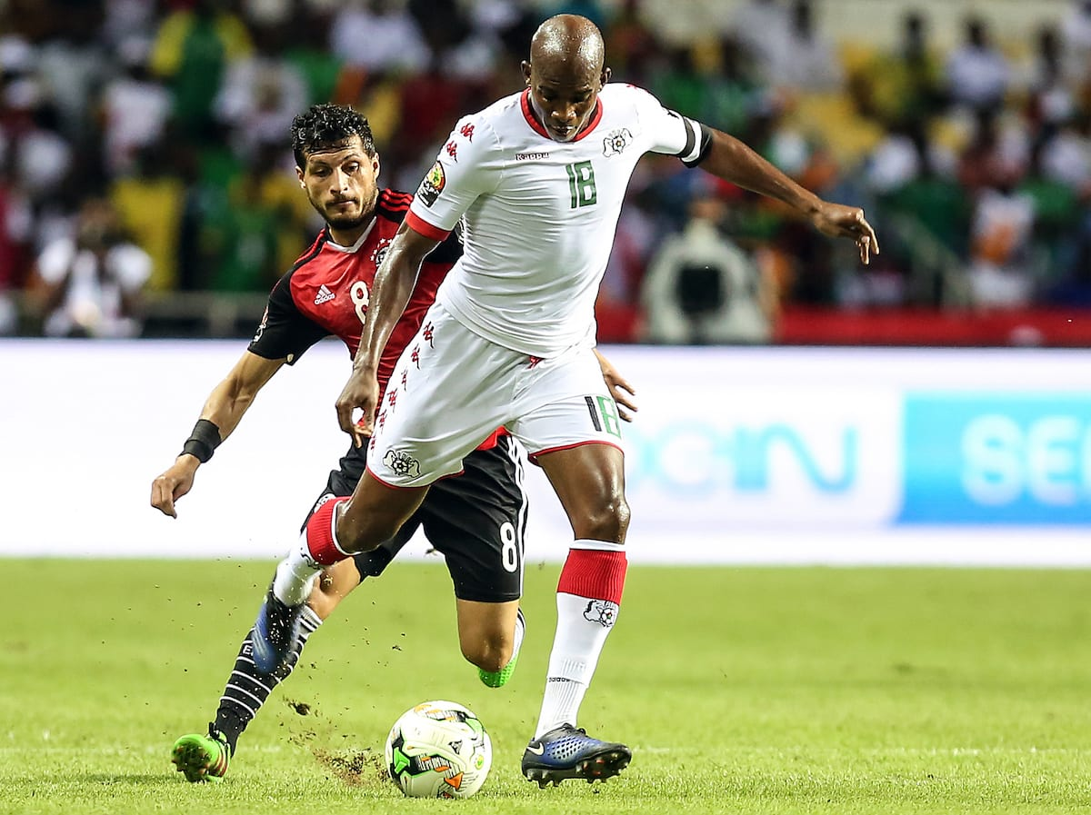 Tarek Hamed of Egypt in action against Charles Kabore of Burkina Faso during the 2017 Africa Cup of Nations semi-final football match between Burkina Faso and Egypt at the Stade de l'Amitie Sino Gabonaise in Libreville