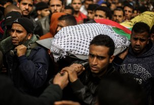 RAFAH, GAZA - FEBRUARY 09: Palestinians carry the body of Husam Sufi (24), who was killed by Israeli forces, during a funeral ceremony in Rafah, Gaza on February 09, 2017. ( Mohammed Talatene - Anadolu Agency )