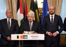 BRUSSELS, BELGIUM - FEBRUARY 9: Palestinian President Mahmoud Abbas (C) and Belgian Prime Minister Charles Michel (R) hold a press conference after their meeting in Brussels, Belgium on February 9, 2017. ( Palestinian Presidency - Handout - Anadolu Agency )