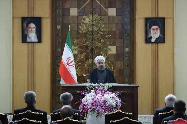 President of Iran Hassan Rouhani speaks during a conference organised for 38th anniversary of Iranian Revolution at Leader's Conference Room in Tehran, Iran on February 9, 2017 [Iranian Presidency / Anadolu Agency]