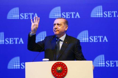 President of Turkey, Recep Tayyip Erdogan delivers a speech during a symposium on presidential system ahead of referendum on constitutional change in Istanbul, Turkey on February 11, 2017 [Kayhan Özer / Anadolu Agency]