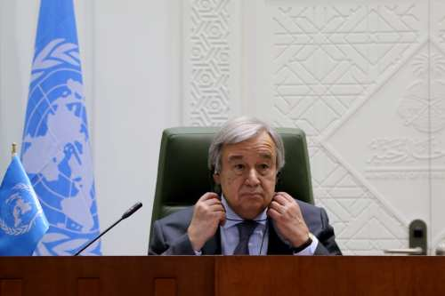 United Nations Secretary-General Antonio Guterres delivers a speech during a joint press conference with Minister of Foreign Affairs of Saudi Arabia, Adel al-Jubeir (not seen) after their meeting in Riyadh, Saudi Arabia on February 12, 2017 [Ramazan Turgut / Anadolu Agency]