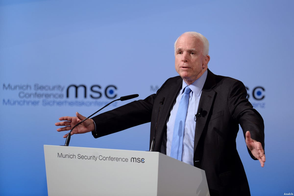 Image of US Senator John McCain on 17 February 2017 [Andreas Gebert/Anadolu Agency]