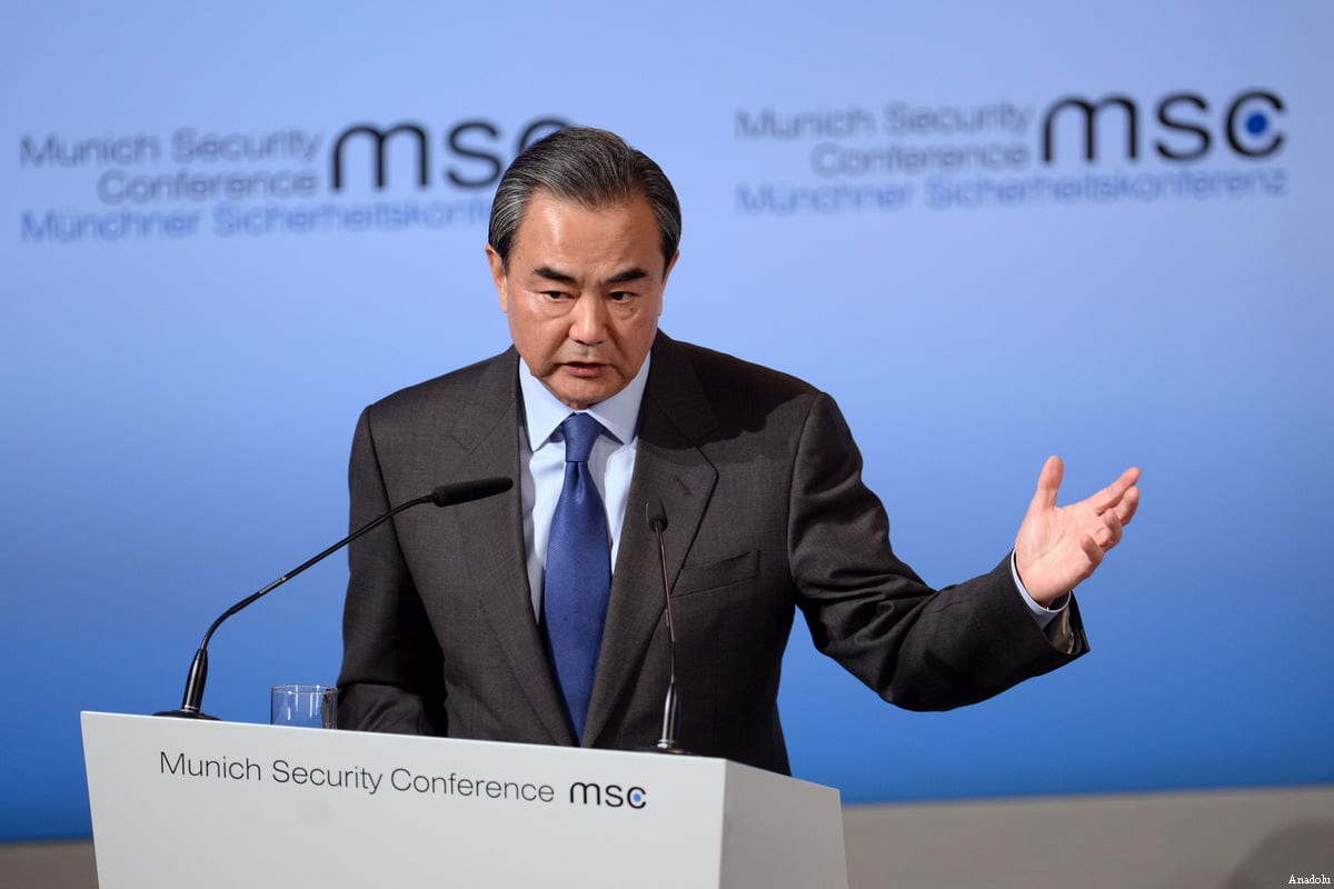Image of Chinese Foreign Minister Wang Yi on 17 February 2017 [Andreas Gebert/Anadolu Agency]