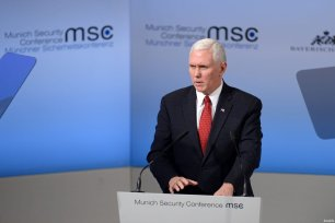 US Vice President Mike Pence talks at the 53rd Munich Security Conference (MSC) at Hotel Bayerischer Hof in Munich, Germany, on Februrary 18, 2017. The annual event brings together government representatives and security experts from across the globe. ( Andreas Gebert - Anadolu Agency )