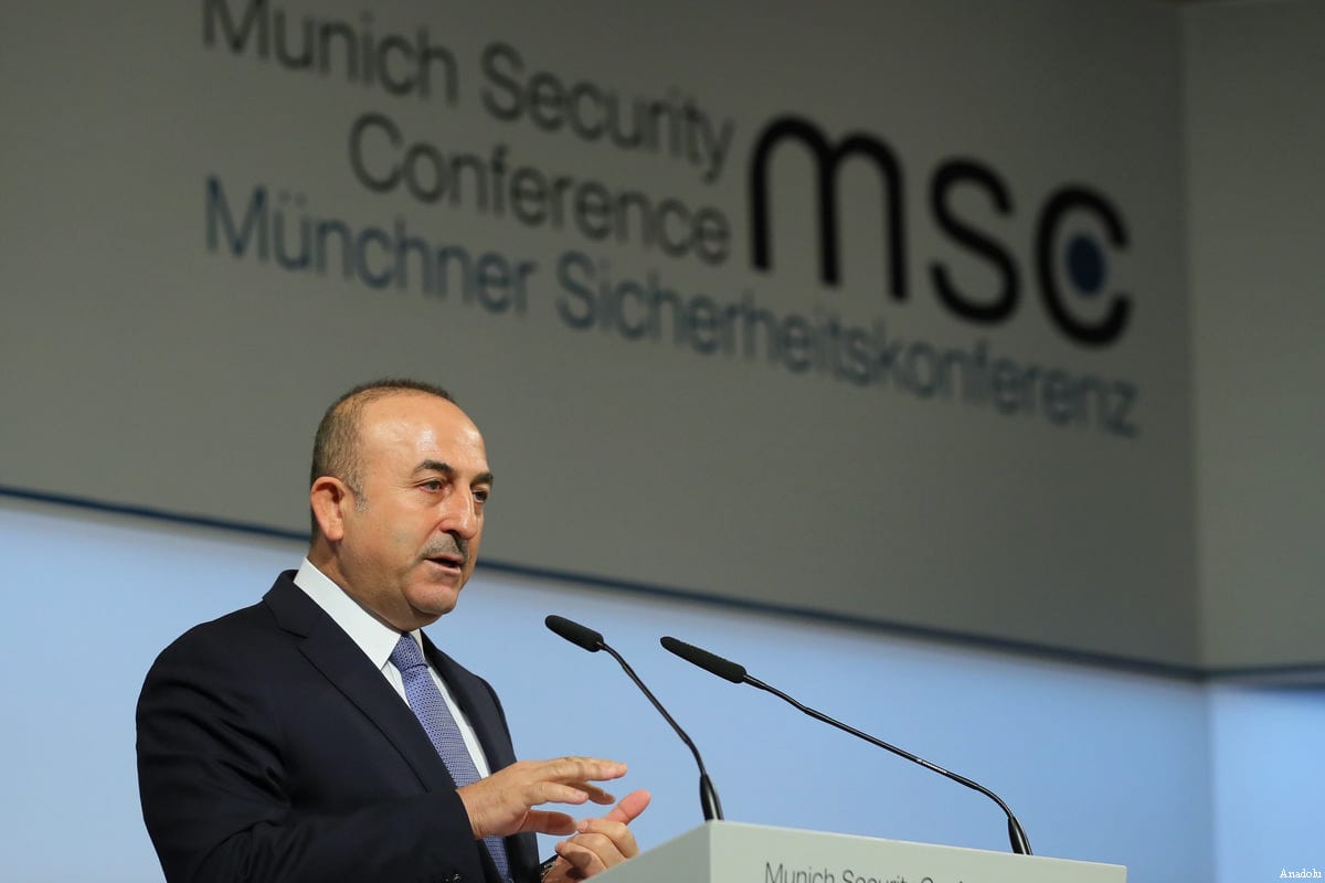 "Turkish Foreign Minister Mevlut Cavusoglu speaks during a panel discussion within the ""Munich Security Conference"" in Munich, Germany on 19 February, 2017 [Ahmet Gumus/Anadolu Agency]"