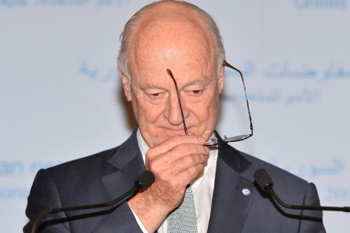 UN Secretary-General's Special Envoy for Syria, Staffan de Mistura holds a joint press conference after a session within the fourth round of the intra-Syrian talks, marking the first time the Syrian regime and opposition delegations have returned to negotiations in Geneva on February 23, 2017 [Mustafa Yalçın / Anadolu Agency