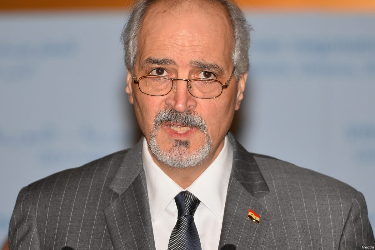 Bashar Jaafari, Permanent Representative of the Syrian Arab Republic to the UN at a press conference after meeting with UN Secretary-General's Special Envoy for Syria, Staffan de Mistura in Geneva, Switzerland on February 25, 2017 [Mustafa Yalçın / Anadolu Agency]