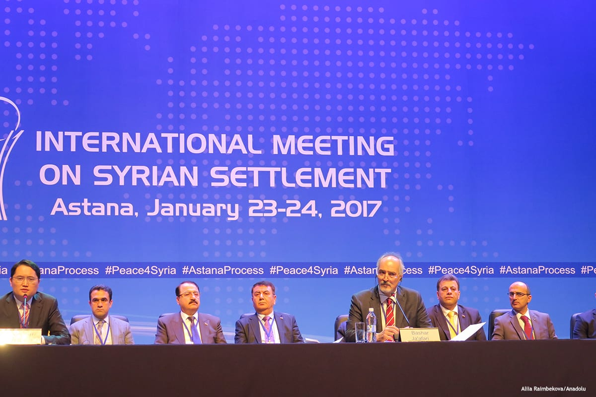 Image of the Syrian peace talks in session in Astana, Kazakhstan [Aliia Raimbekova/Anadolu]