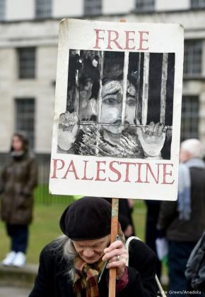 Protesters take part in the 'Justice now - Stand up for Palestine' demonstration in London, United Kingdom on February 06, 2017 [Kate Green - Anadolu Agency]