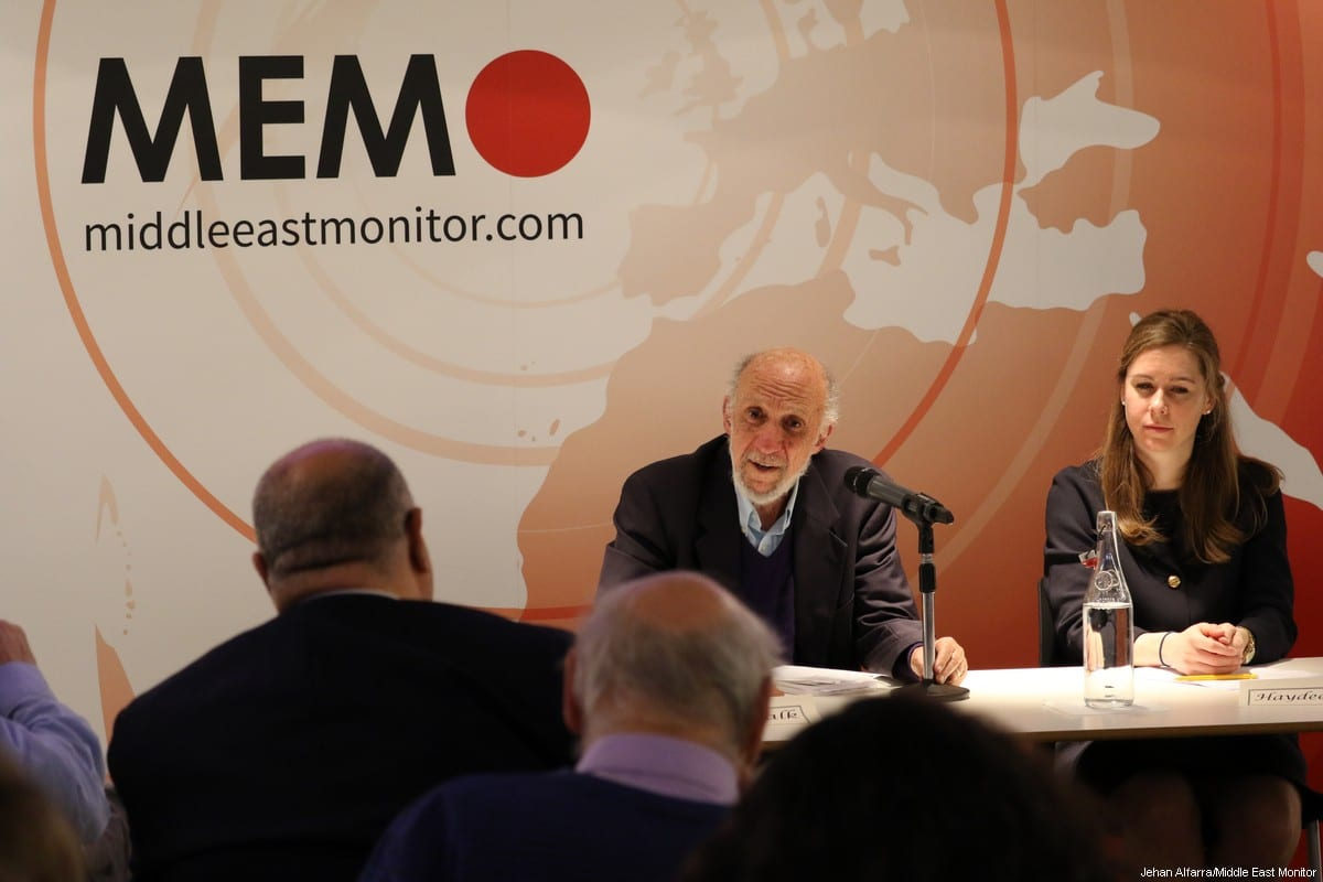 Former United Nations Special Rapporteur for Palestine Richard Falk is seen at the launch of his new book at an event hosted by MEMO in London, UK, on 20 March 2017 [Jehan AlFarra/Middle East Monitor]