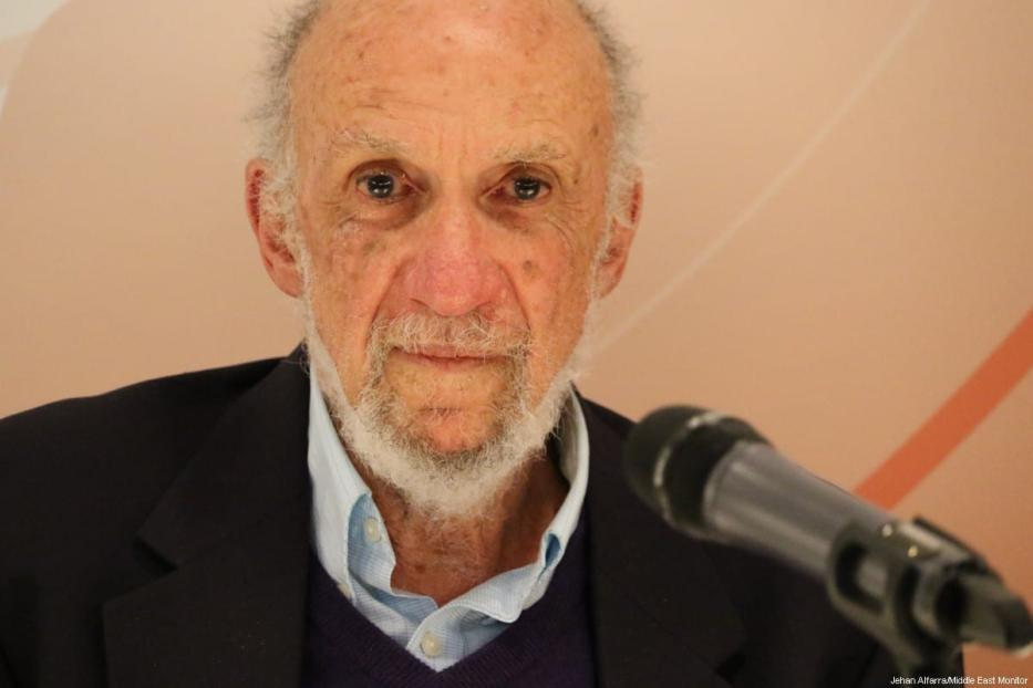 Former United Nations Special Rapporteur for Palestine Richard Falk on 21 March 2017 [Jehan AlFarra/Middle East Monitor]