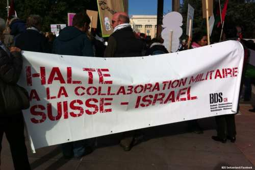 Image of a BDS march in Switzerland [BDS Switzerland/Facebook]