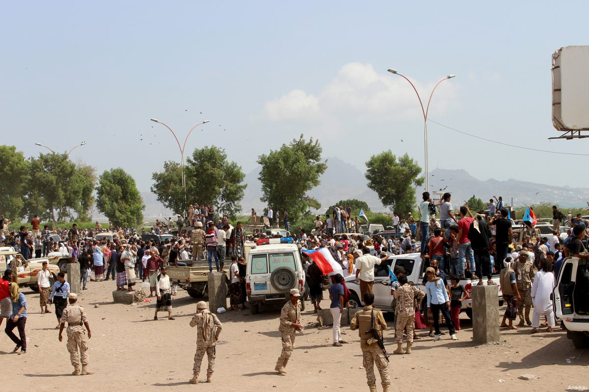 People attend the funeral ceremony for the Yemeni Army's deputy chief of staff Major General Ahmad Saif Al Yafii, under tight security measures in Aden, Yemen on February 24, 2017. Ahmad Saif Al Yafii, was killed by a heat-seeking missile on the outskirts of the coastal town of Mokha during clashes with Houthi militias [Wail Qubati / Anadolu Agency]