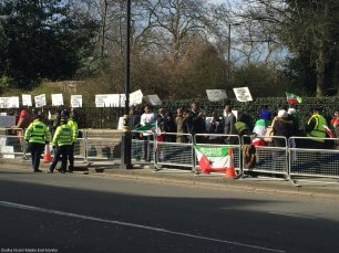 Dozens of people protest outside the UAE Embassy in London, UK, against the creation of an Emirati military base in Somalia on 2 March 2017.