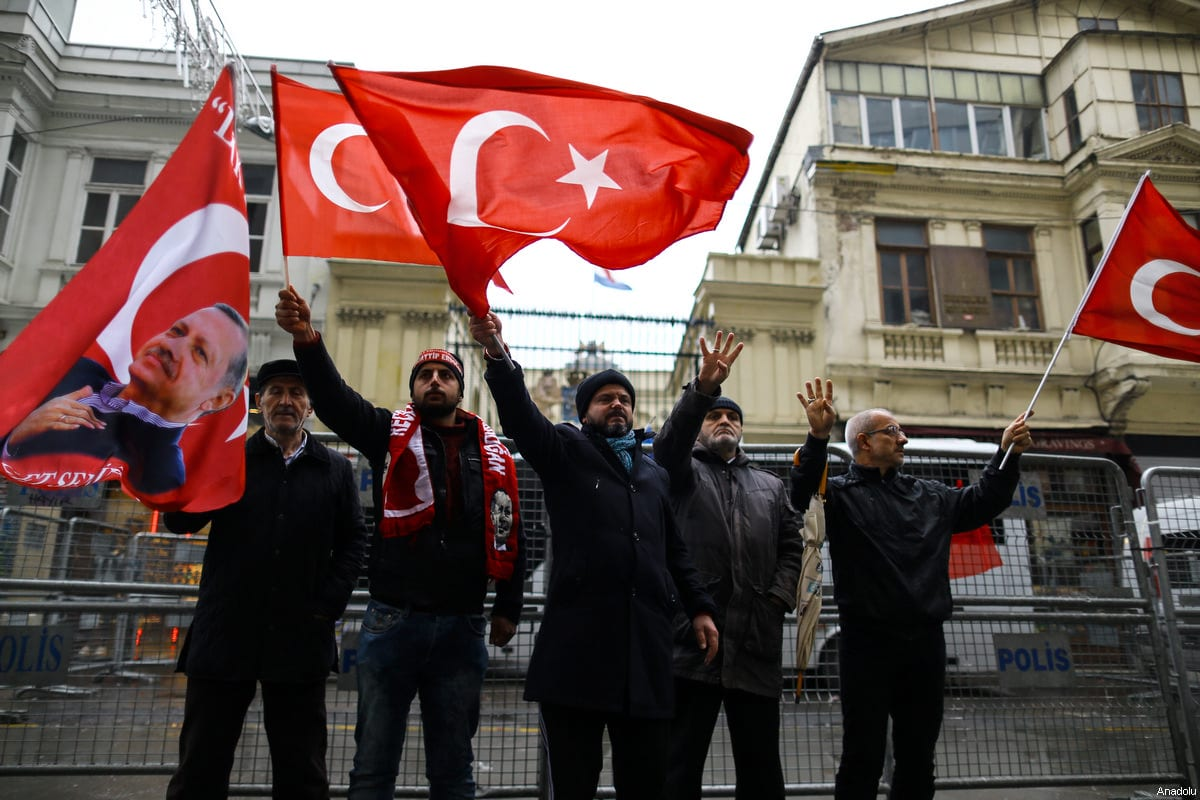 Protests continue, as policemen sealed off the entrances and exits of roads to Dutch consulate due to security concerns following protests those staged in solidarity with the Turkish Foreign Minister Mevlut Cavusoglu and Turkish Family Minister Fatma Betul Sayan Kaya in Istanbul, Turkey on March 12, 2017 [Salih Zeki Fazlıoğlu / Anadolu Agency]