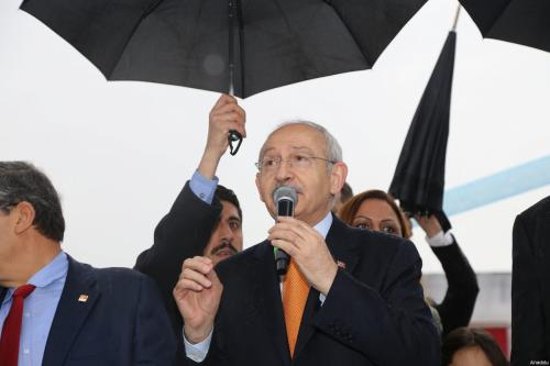 Leader of the Republican People's Party (CHP) and Leader of the Main Opposition in Turkey, Kemal Kilicdaroglu delivers a speech during the opening ceremony of the Sakirpasa Neighborhood Mega Sports Complex in Adana, Turkey on March 12, 2017 [Sebahatdin Zeyrek / Anadolu Agency]