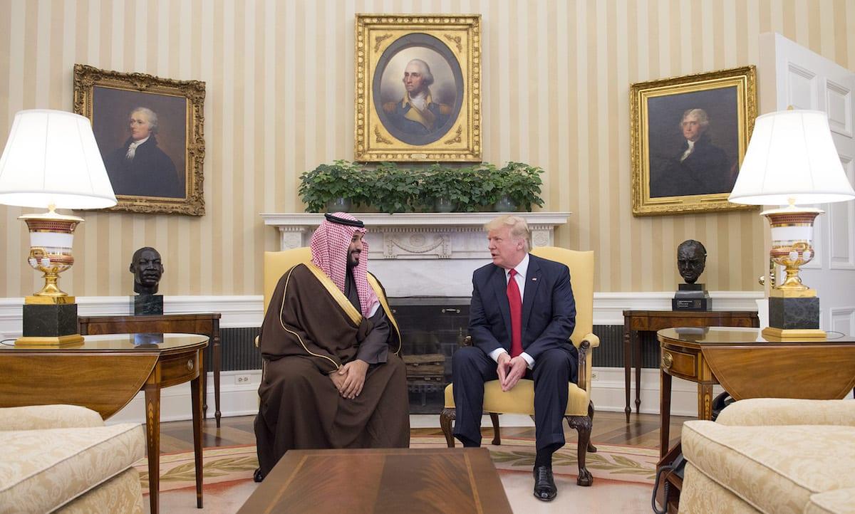 Saudi Defense Minister Mohammad bin Salman Al Saud (L) meets US President Donald Trump (R) at the White House in Washington, United States on 14 March, 2017 [Saudi Kingdom Council/Handout/Anadolu Agency]