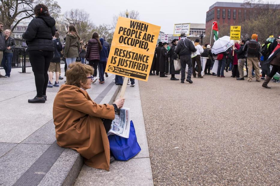 A woman with a sign rests on a curb during a Pro-Palestine rally in front of the White House during the annual American Israel Public Affairs Committee (AIPAC) conference in Washington, USA on 26 March, 2017 [Samuel Corum/Anadolu Agency]