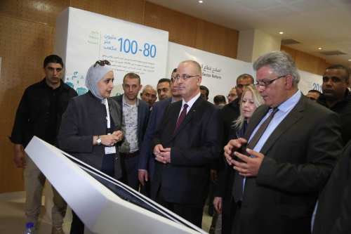 Palestinian Prime Minister Rami Hamdallah (2nd L) attends the opening of an exhibition held to attract attention to condition of the water and wastewater in West Bank, by Palestinian Water Authority (PWA) on March 29, 2017. ( Issam Rimawi - Anadolu Agency )