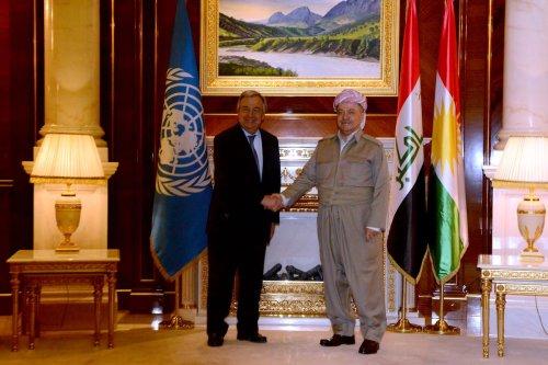 UN Secretary-General Antonio Guterres (L) meets with President of Iraqi Kurdish Regional Government (IKRG) Masoud Barzani (R) at Presidential Palace in Iraq on March 30, 2017. ( Hamit Hüseyin - Anadolu Agency )