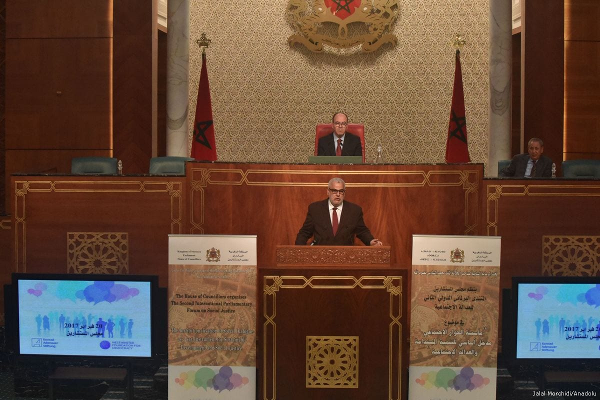 Morocco's Prime Minister Abdelilah Benkirane delivers a speech in Rabat, Morocco on 20 February 2017 [Jalal Morchidi - Anadolu Agency]