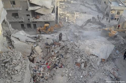 Damaged buildings are seen after the Assad Regime carried out airstrikes on 27 February 2017 [Mohammed Amin Qurabi/Anadolu]