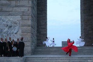 CANAKKALE, TURKEY- Whirling dervishes of Canakkale Onsekiz Mart University (COMU) Sufi Ensemble perform the Sama during the 102nd anniversary of the Naval operations in the Dardanelles Campaign at the Canakkale Martyrs' Memorial in Gallipoli peninsula