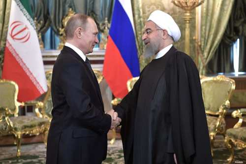 Image of Russian President Vladimir Putin (L) and Iranian President Hassan Rouhani (R) during a joint press conference in Moscow, Russia on 28 March 2017 [Alexei Nikolsky/Anadolu]