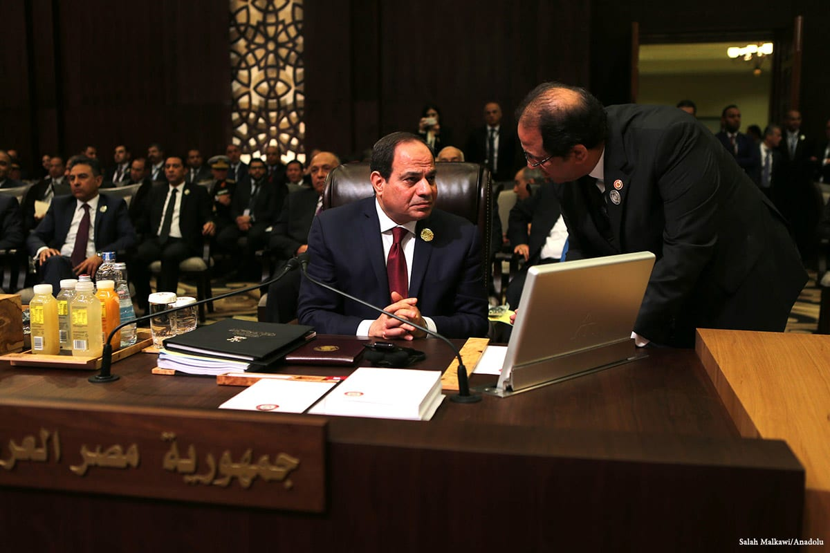 Image of Egyptian President Abdel Fattah el-Sisi at the 28th Arab League Summit in Jordan on 29 2017 [Salah Malkawi/Anadolu]