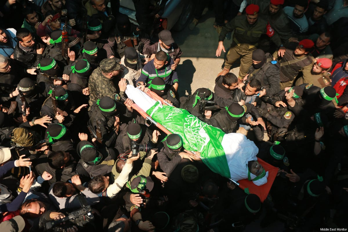 Mourners gather for the funeral of Mazen Fuqaha, a Hamas leader in Gaza assasinated by Israeli agents, on March 25, 2017 [Mohammed Asad / Middle East Monitor]