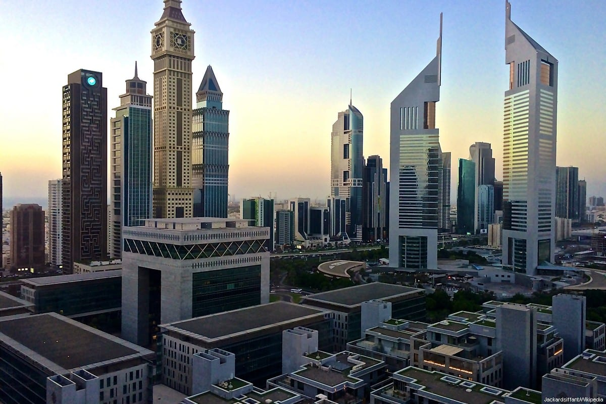 Dubai's Emirates Towers and the view on Sheikh Zayed Road [Jackardsiffant/Wikipedia]