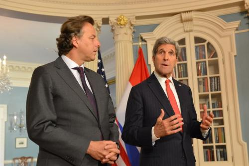 US Secretary of State John Kerry delivers remarks with Dutch Foreign Minister Bert Koenders, at the Department of State in Washington, US, on April 30, 2015