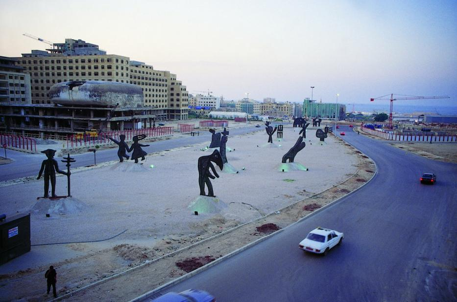 A general view of Nadim Karam's 'The Archaic Procession', Beirut Central District [1995-2000]