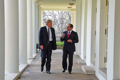 US President Donald Trump meets Egyptian President Abdel Fattah el-Sisi (R) at the White House in Washington, US on April 3 2017. ( Presidency of Egypt / Handout - Anadolu Agency )