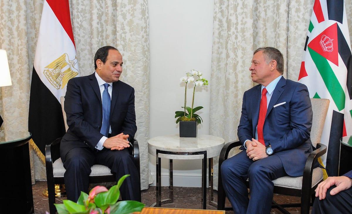Egyptian President Abdel Fattah el-Sisi (L) meets with Jordanian King Abdullah II bin Al-Hussein (R) in Washington, US on 4 April, 2017 [Presidency of Egypt/Handout/Anadolu Agency]